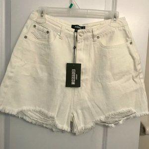 Extreme ripped hem high waist denim shorts…